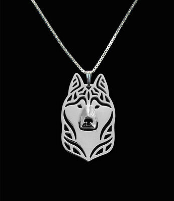 Siberian Husky Pendant Necklace Silver Tone ANIMAL RESCUE DONATION