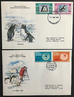 BAT 2 FDC covers 1979 - 1982 Penguins and Continental Drift mailed to USA