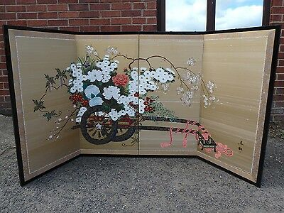 Chinese antique Republic period signed hand painted silk 4 panel folding screen