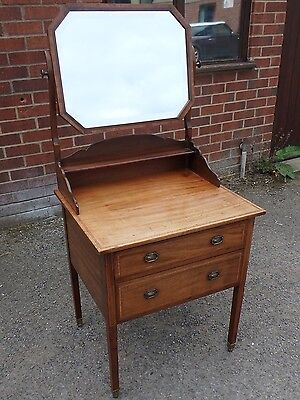 Victorian antique solid mahogany inlaid 2 drawer shaving mirror dressing table