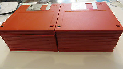 """3.5"""" 1.44MB formatted HD floppy disks in  30 x Red, New with labels."""