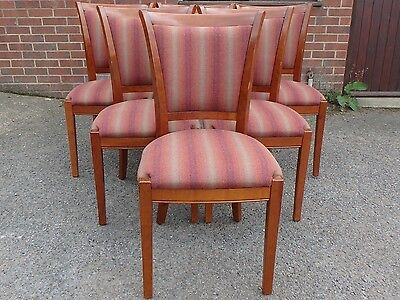 Set 6 Grange Rochambeau French cherry upholstered antique style dining chairs