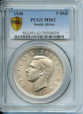 1948 PCGS MS 62 South African 5 Shillings Coin 80% Silver SA652