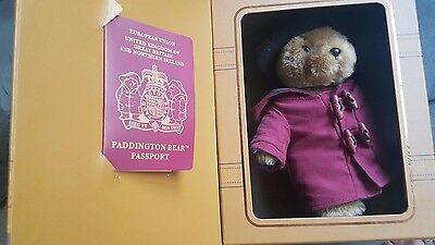Collectors Paddington Bear suitcase with passport - genuine and authentic