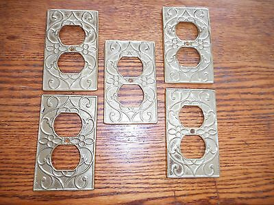 5 Vintage Brass Receptacle  Switch plate  virginia. metal  crafters