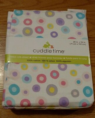 CUDDLETIME Infant Baby Girls Fitted Crib Sheet Polka Dots Circles Toddler NEW