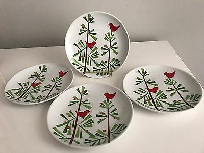 """Set Of 4 Crate & Barrel Christmas 6"""" Appetizer Plates Red Bird Tree"""