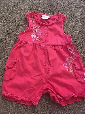 Butterfly Pink Summer Romper Suit Floral 3-6 Months Ex Con Holiday