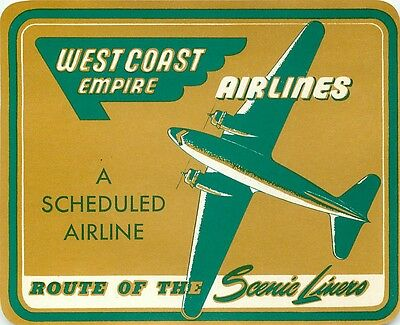 West Coast Empire Airlines Vintage Aviation Luggage Label