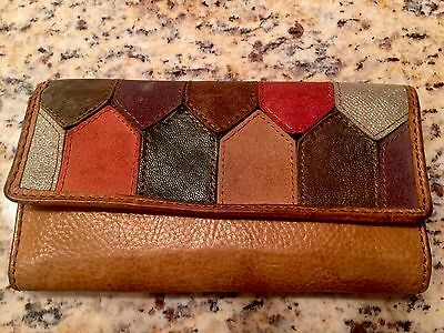 FOSSIL Brown Leather Patchwork Trifold Checkbook Clutch Wallet NWT