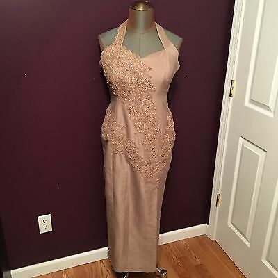 Taupe Mother of the Bride Groom Formal Dress Women's Size 8 10