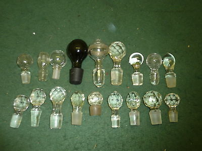 Job Lot of 18 Cut,Crystal,Blue & Hollow Glass Decanter Bottle Stoppers 40-100mm