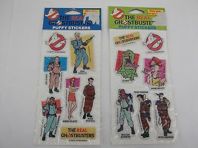 VINTAGE The Real Ghostbusters Puffy Stickers lot of 2 NEW packs VTG 1984 NOS