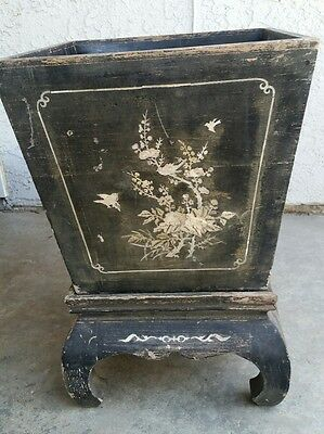 Chinese Asian Mother Of Pearl Inlay Wooden Planter Pot w stand  Vintage