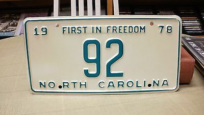 1978 North Carolina NC Official   License Plate   #92