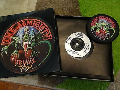 "Limited Edition The Almighty 7"" Vinyl Single Devil`s Toy In Box With Badge"