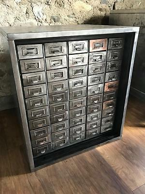 Vintage Industrial Stripped Metal 50 Drawer Cabinet Haberdashery Drawers