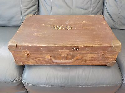 SUITCASE CASE LUGGAGE BY PYTHON  VINTAGE OLD 1930s 40s COLLECTABLE STORAGE