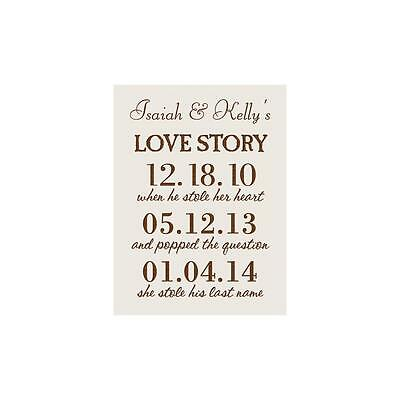 "Personalized Laser Engraved Sign, Wedding LOVE STORY Names & Dates, 6"" x 8"""
