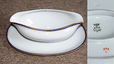 Krister KPM Germany Sauce Gravy Boat with Attached Plate Vintage Rare