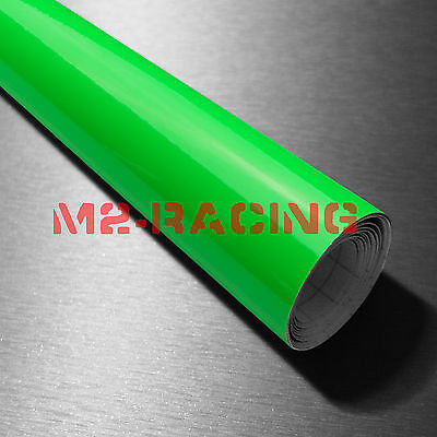 "39""x360"" Fluorescent Green Vinyl Self Adhesive Decal Plotter Sign Sticker Film"