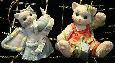 "2 Enesco Calico Kittens ""Wrapped Up In You"" & ""Joy To The World"" Exc. Condition"