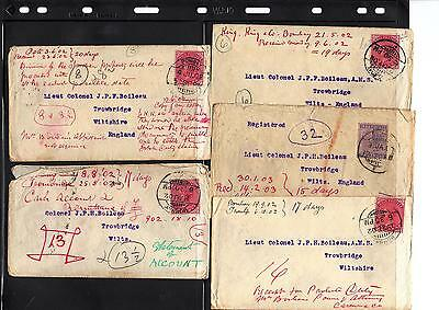 India, Lot Of 10 Covers Letters From Bombay To Trowbridge Wiltshire England 1902