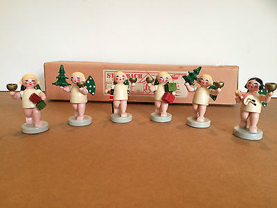 Set of 6 Vintage Steinbach Christmas Angel Candle Holders in Original Box - VG