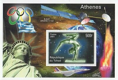 Athens Olympics Ariane Satelite Concorde Statue Of Liberty Mnh Stamp Sheet