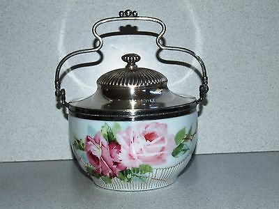 Beautiful ENAMELED MT. WASHINGTON ART GLASS CRACKER JAR / BISCUIT BARREL