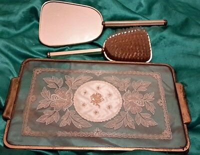 vintage dressing table items glass tray mirror and brush