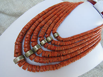 367gram Beutiful original Salmon antique undyed old natural coral necklace