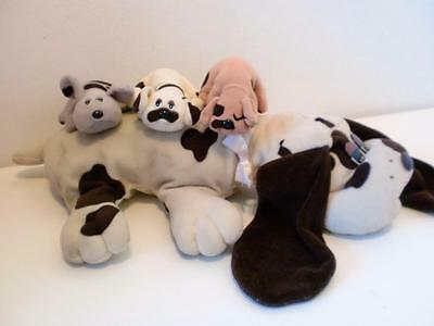 """Vintage Brown Pound Puppies Mother & Puppies Plush Soft Toy Doll Set 18"""" 1980s"""