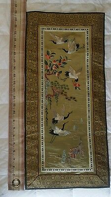 Vintage Scenic Chinese Asian Hand Embroidered Silk Panel Table Runner Tags Mint