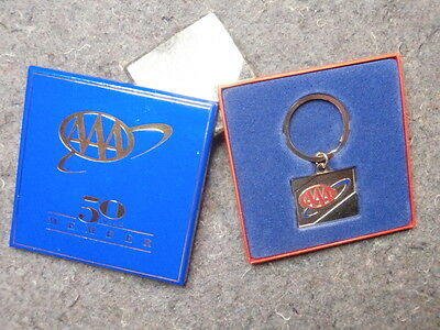 Vintage Keychain/aaa 50 Year Member-Key Ring & Fob/gold Colored/mint In Box