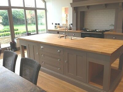 kitchen handmade  bespoke hand painted kitchen  and island