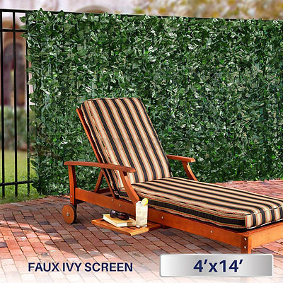 Windscreen4less Artificial Faux Ivy Leaf Decorative Fence Screen 4' x 14' Ivy Le