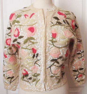 VTG 50's IRIDESCENT Sequin Pink Embroidery ROSES Knit Sweater Top CARDIGAN S/M
