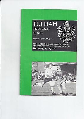 Fulham v Norwich City Football Programme 1968/69