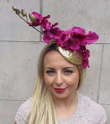 Gold Hot Pink Orchid Flower Fascinator Hat Wedding Hair Races Headband Vtg 3158