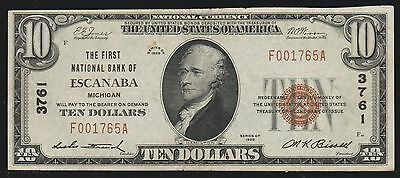 National Currency, $10.00, 1st Nat'l Bank of Escanaba, MI, VF