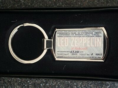 Led Zeppelin Knebworth 79 original ticket design metal keyring Pop art