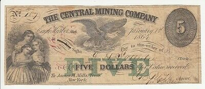 1864 The Central Mining Company Five Dollar Note