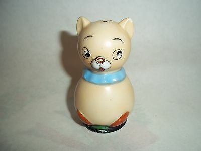 Vtg. Single Salt-Pepper Shaker - Tan Cat w/Blue Collar, Japan   #SP13