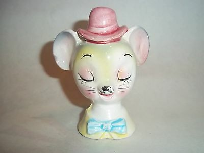 Vtg. Single Salt-Pepper Shaker - Mouse w/Pink Hat, Blue Tie, Closed Eyes   #SP02