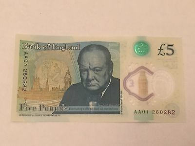 Rare AA01 £5 Five Pound Note Uncirculated New