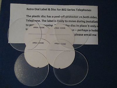 4 x Telephone Dial Labels & Flat Discs. Prof. made for Retro 802 Telephone
