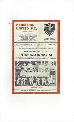 Hereford United v International X1 Friendly 1966/67 Football Programme