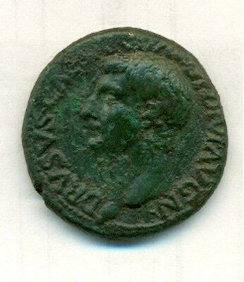14 BC - 22 AD Drusus Rome  AS Sears 588 Spectacular Portrait  VF+