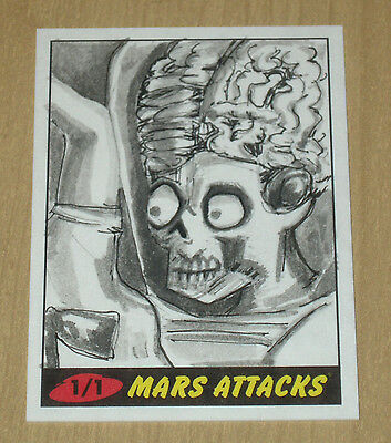 2012 Topps Heritage MARS ATTACKS sketch card artist unknown 1/1